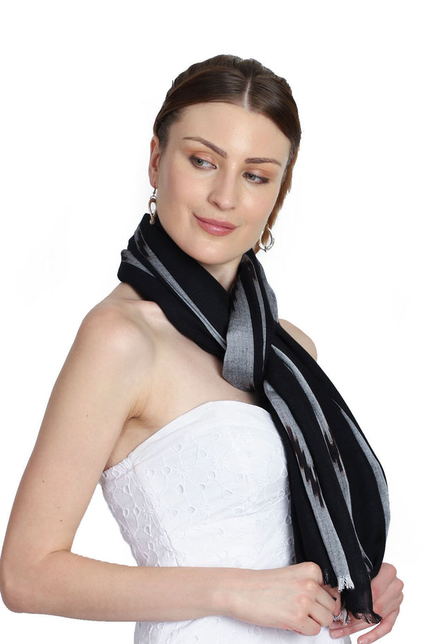 Viscose Stole in Black And Grey