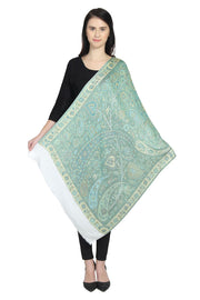 Modal Shawl in White, Blue And Green