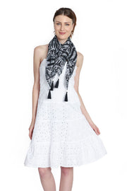 Chiffon Square Scarf in Black And White
