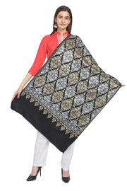 Wool Shawl in Black, Gold And Silver