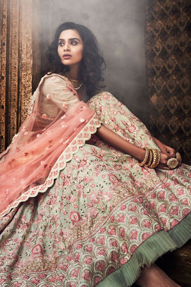 Faux Georgette Embroidered Lehenga Choli in Light Green