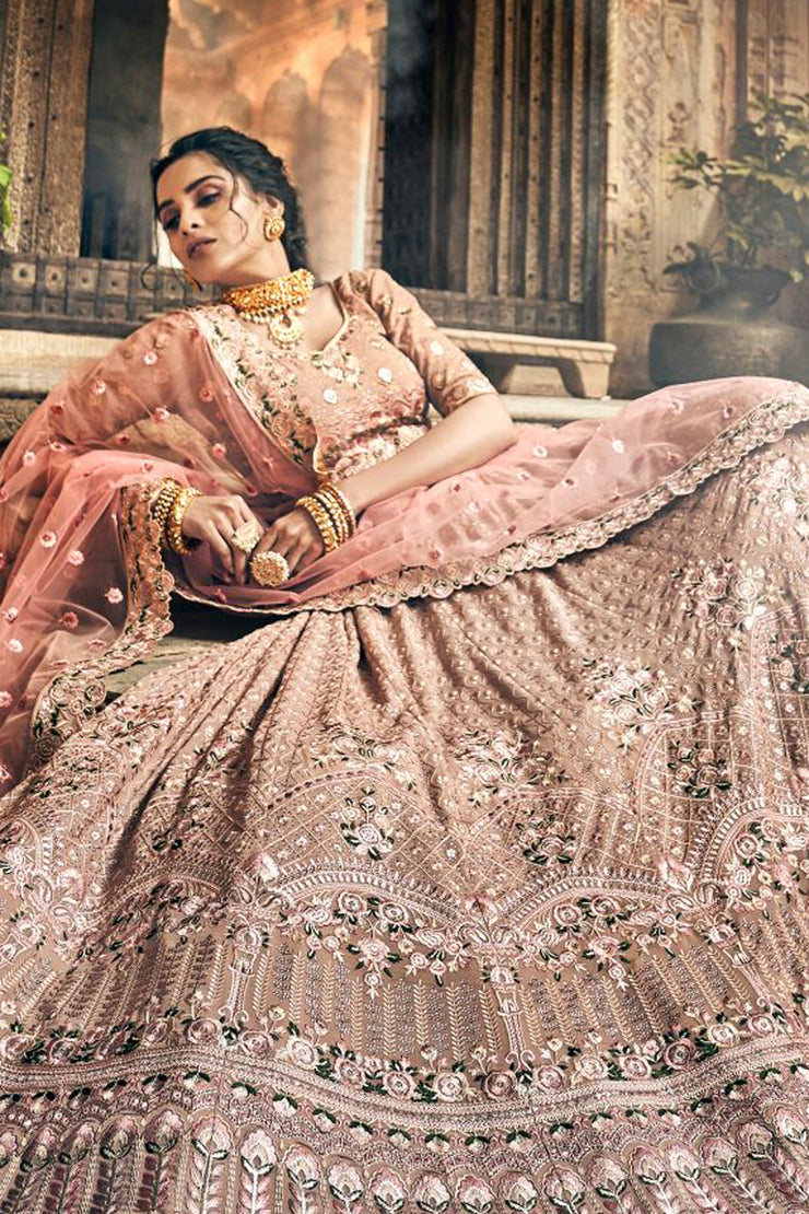 Faux Georgette Embroidered Lehenga Choli in Light Pink
