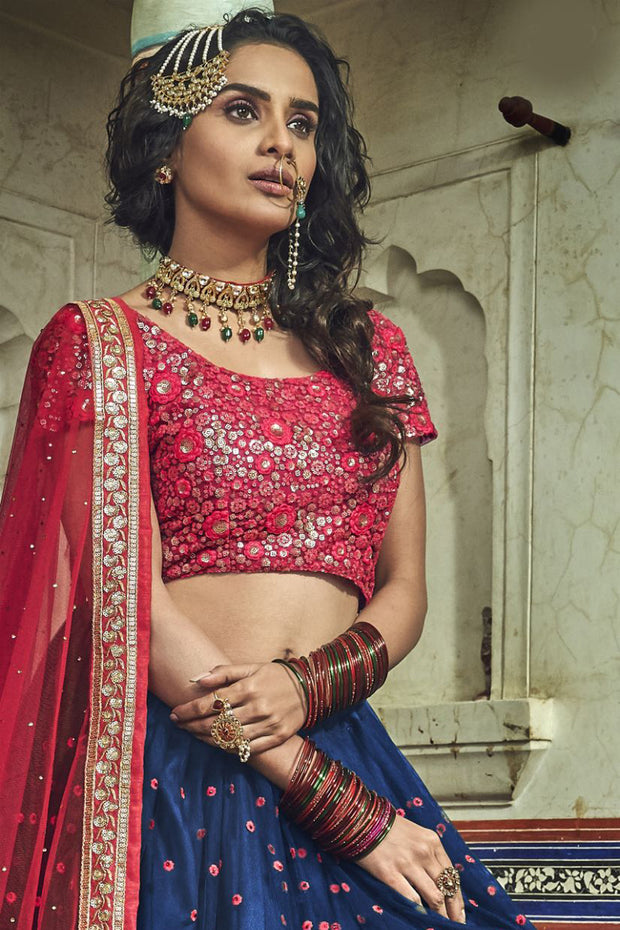 Net Embroidered Lehenga Choli in Navy Blue