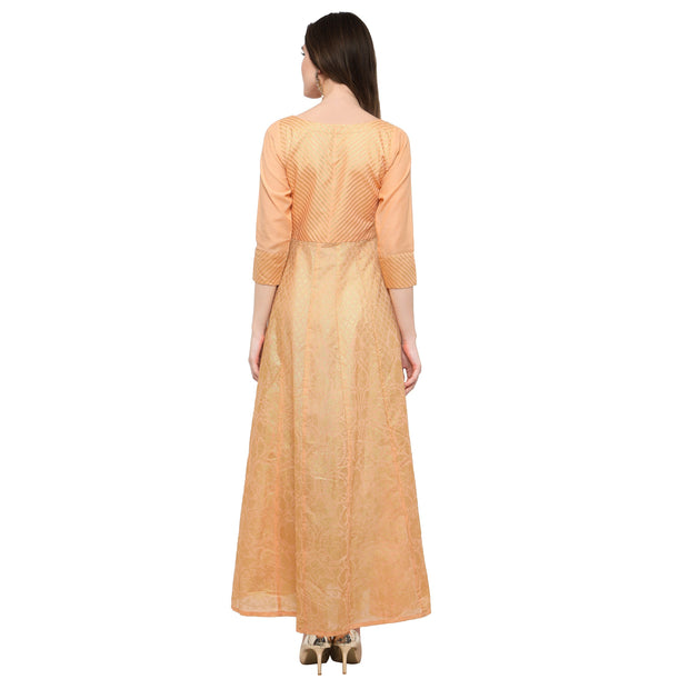 Ahalyaa Women's Chanderi Kurta in Peach