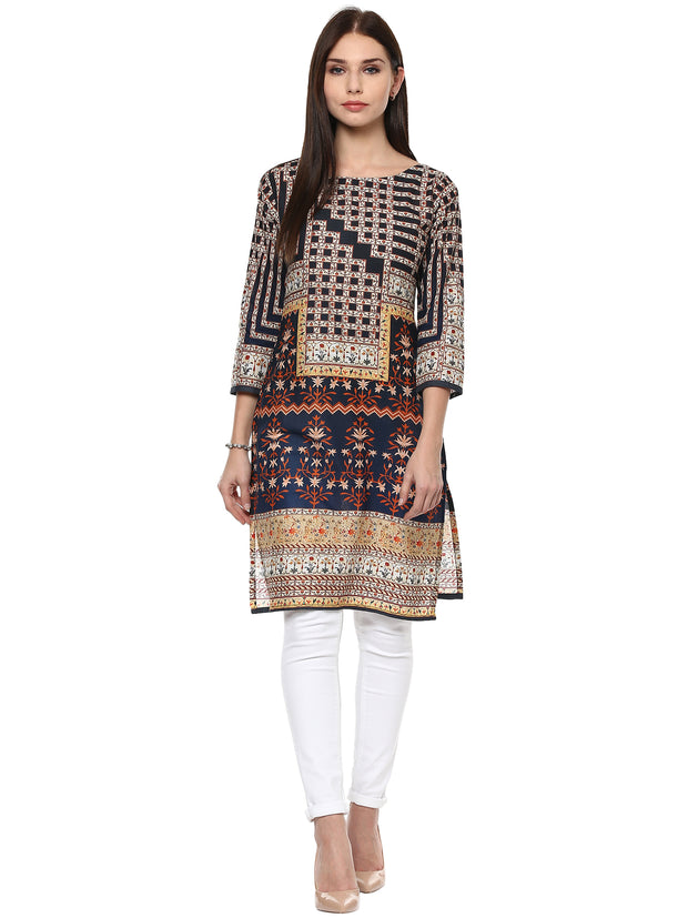 Cotton Printed Kurta in Beige and Blue