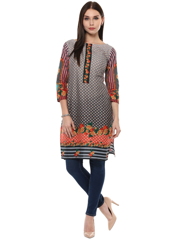 Cotton Kurta in Black and Grey