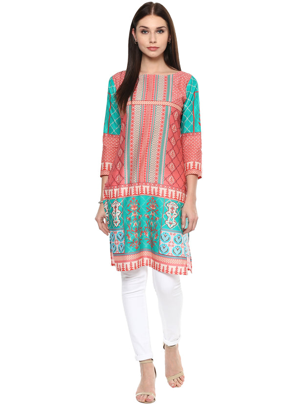Shop Woman's Cotton Printed Kurta in Multi At KarmaPlace