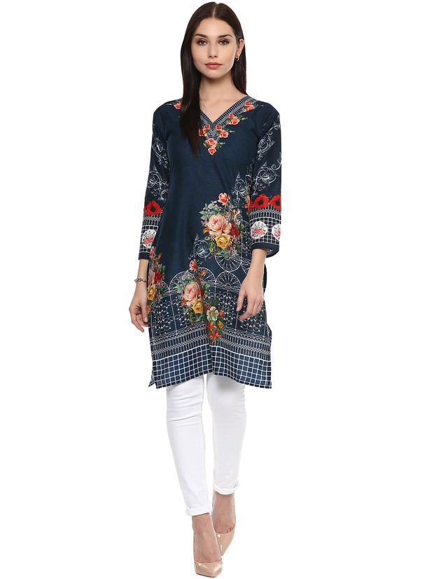 Shop Blue Cotton Kurta For Woman&
