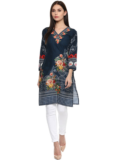 Buy Cotton Kurta in Blue Online