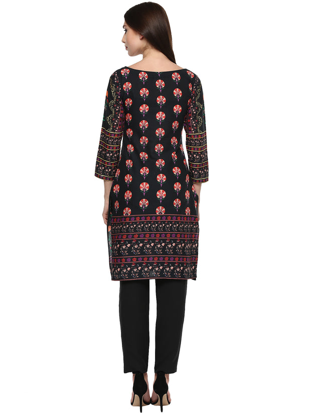 Cotton Printed Kurta in Black