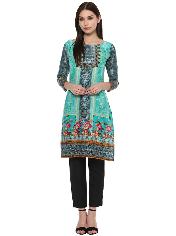 Shop Woman' s Cotton Printed Kurta in Green At KarmaPlace