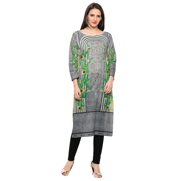 Cotton Printed Kurta in Grey