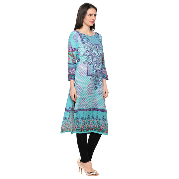 Shop Woman's Cotton Kurta in Sky Blue At KarmaPlace