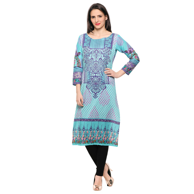 Buy Cotton Kurta in Sky Blue Online