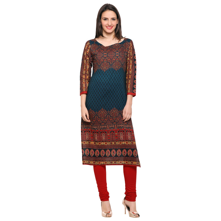 Buy Cotton Printed Multicolored Kurta Online