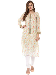 Cotton Printed Multicolored Kurta