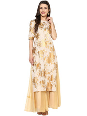Cotton Printed Kurta in Beige