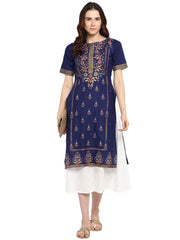 Cotton Printed Kurta in Blue