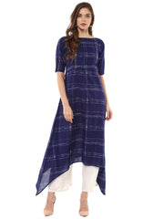 Shop Woman's Cotton Printed Kurta in Blue At KarmaPlace