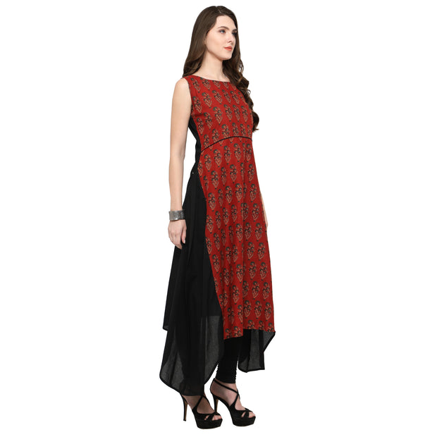 Shop Woman's Cotton Kurta in Red At KarmaPlace