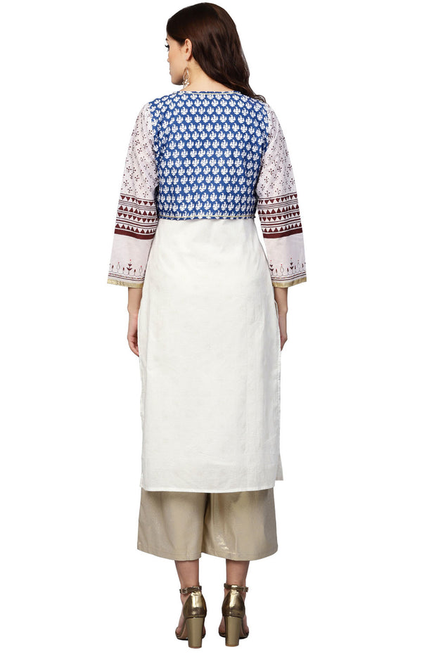 Cotton Printed Kurta in White and Blue
