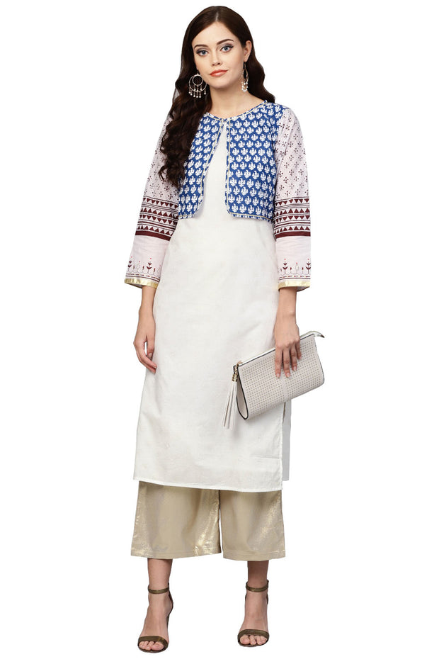 Ahalyaa Cotton Printed Kurta in White and Blue