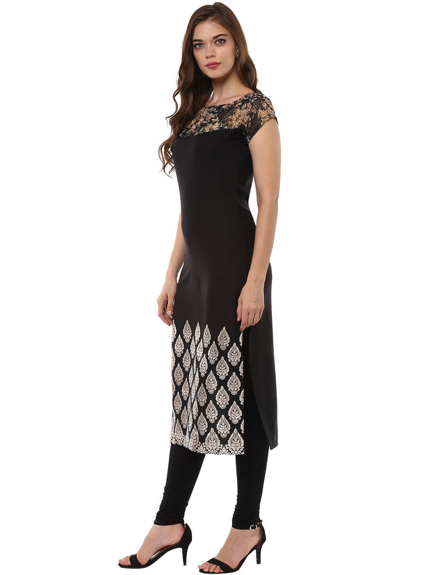 Polyester Kurta in Black