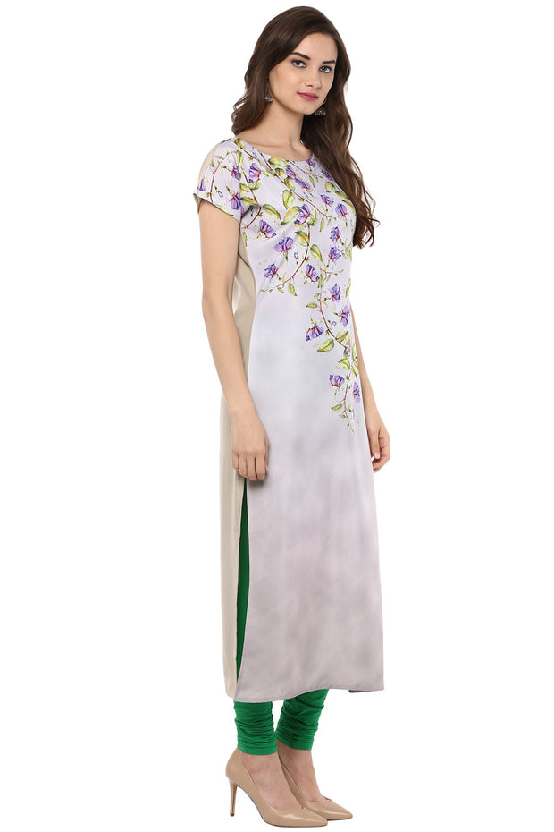 Crepe Printed Kurta in White