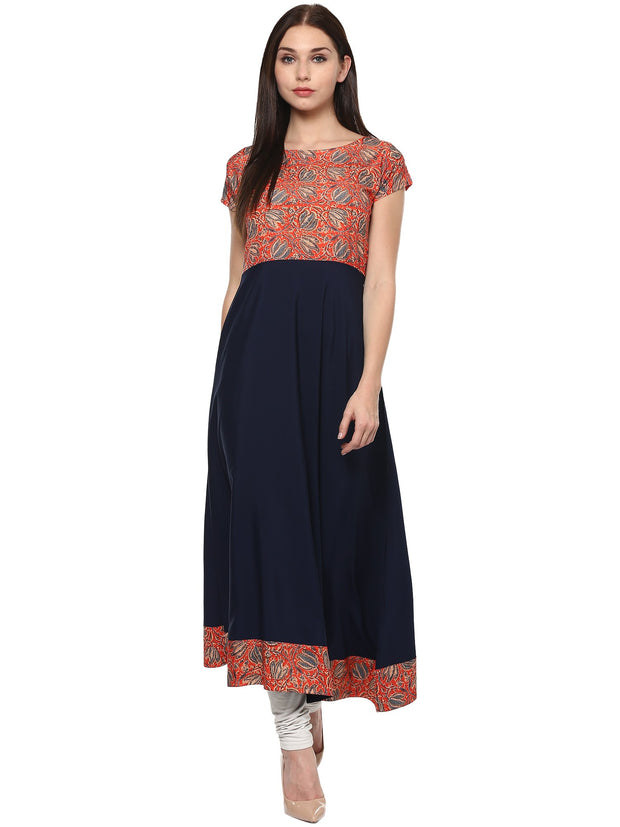 Polyester Kurta in Blue