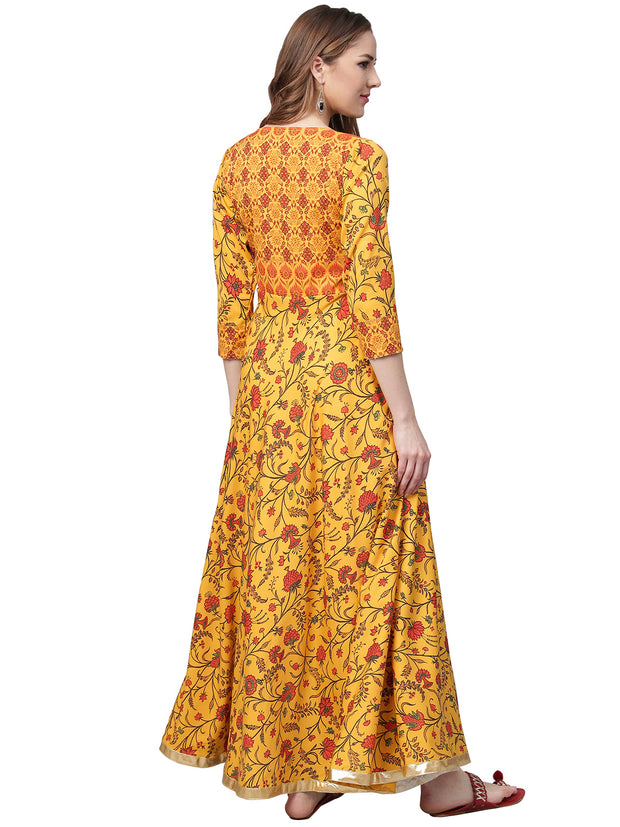 Ahalyaa Women's Crepe Kurta in Yellow