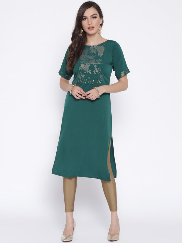 Polyester Straight Kurta in Blue and Green