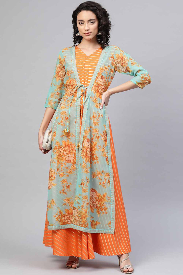 Buy Women's Organza Jacket Kurta In Orange And Light Blue