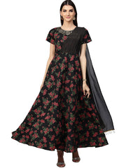 Polyester and Georgette Kurta in Black