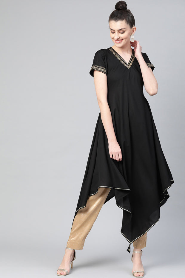 Polyester Solid Kurta in Black