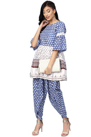 Pure Cotton Printed Kurta with Palazzo in White and Blue