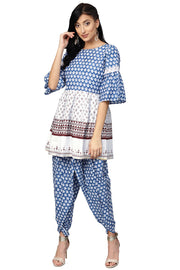 Ahalyaa Pure Cotton Printed Kurta with Plazzo in White and Blue