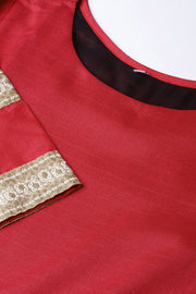 Poly Art Silk Solid Kurta Set in Red
