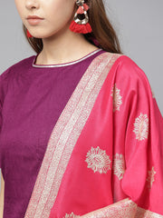 Ahalyaa Women's Silk Kurta Sets in Purple