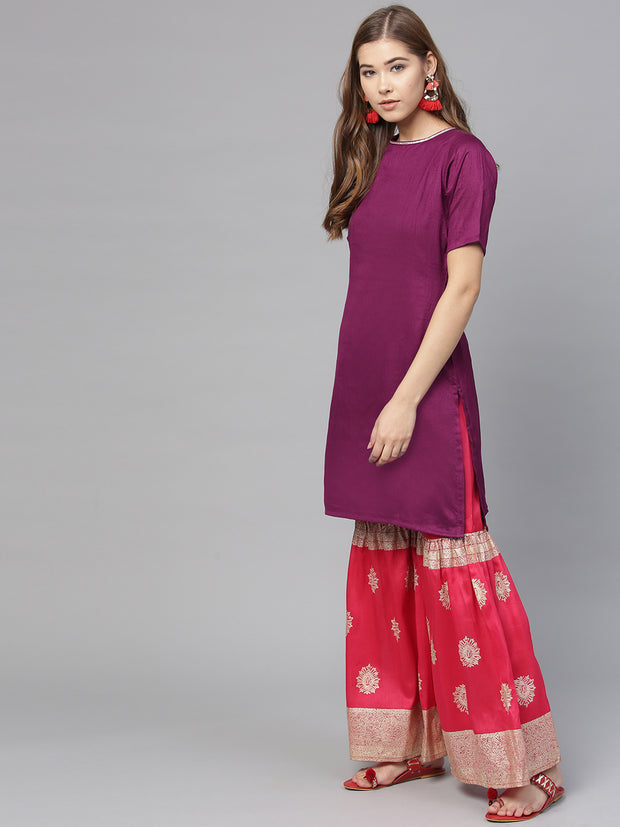 Poly Art Silk Kurta Sets in Purple