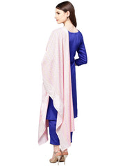 Poly Art Silk Solid Kurta Sets in Blue
