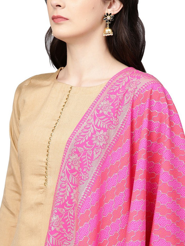 Shop Poly Art Silk Solid For Woman's Kurta Sets in Beige At KarmaPlace