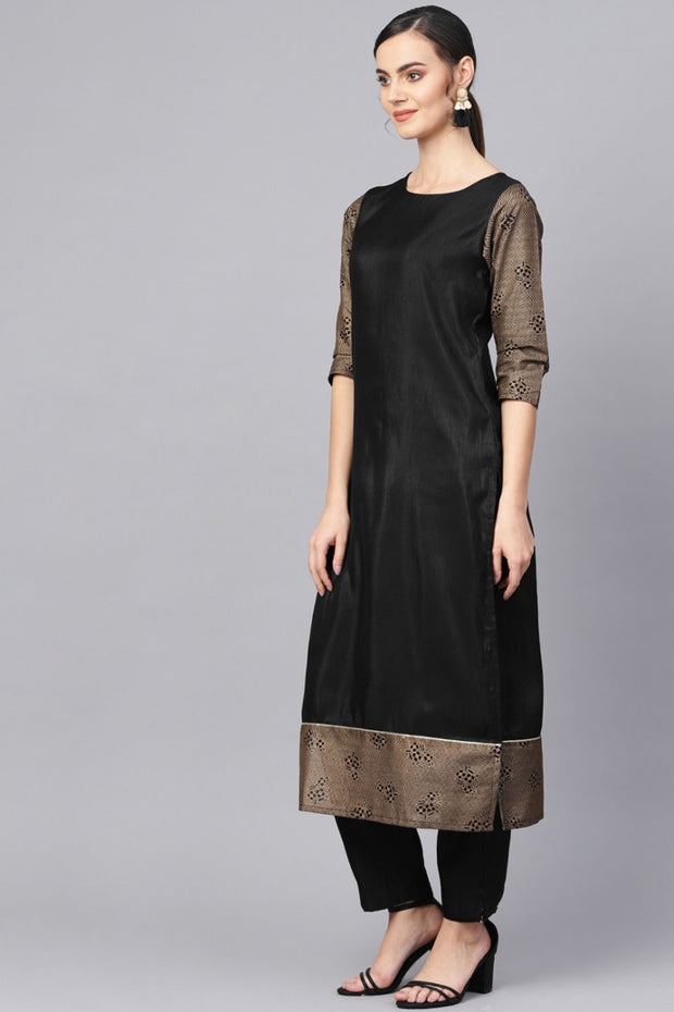 Poly Art Silk Printed Kurta Set in Black