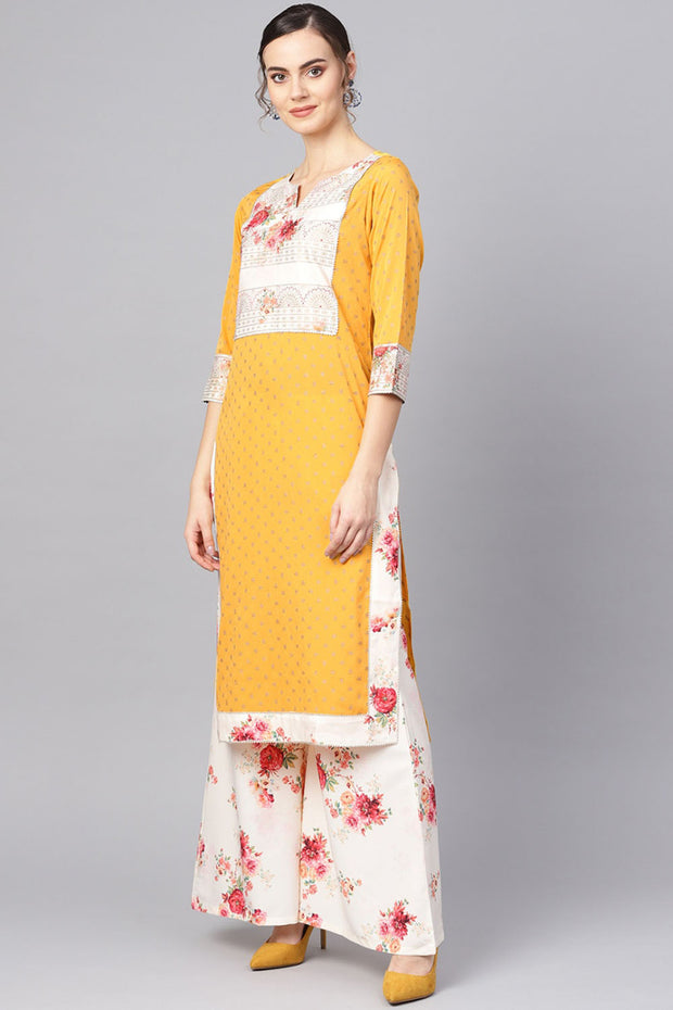 Polyester Digital Print Kurta Set in Mustard