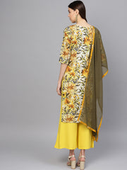 Pure Cotton Kurta Set in Yellow