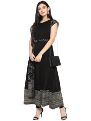 Anarkali Printed Kurta in Black