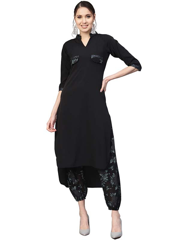 Women's Poly Polyester Pathani Kurta Set in Black