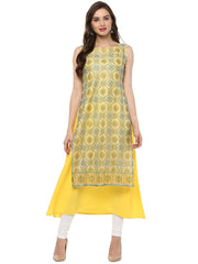 Polyester Kurta in Yellow