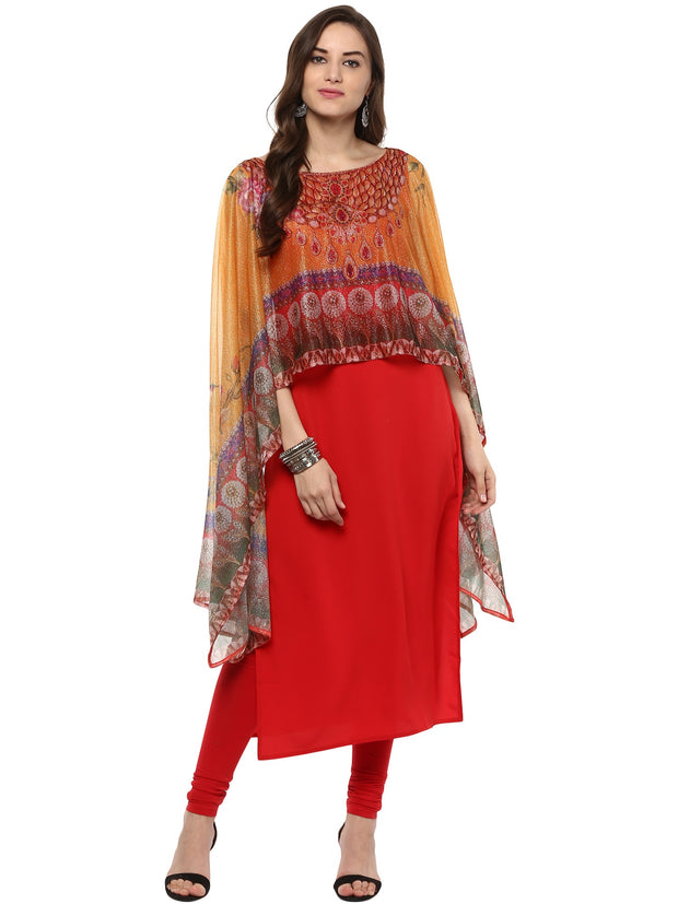 Polyester Kurta in Red