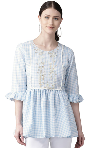 Buy Muslin Checks Print Top in Blue Online