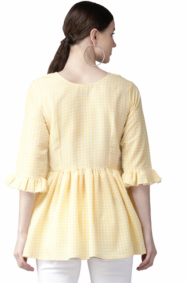 Shop Woman's Muslin Checks Print Top in Yellow At KarmaPlace